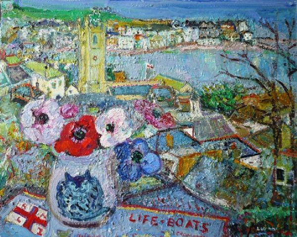 Linda Weir Anemones and Lifeboat Tea Towel oil painting